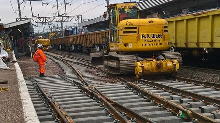 New track being installed by Network Rail at Colchester station. Picture: NETWORK RAIL
