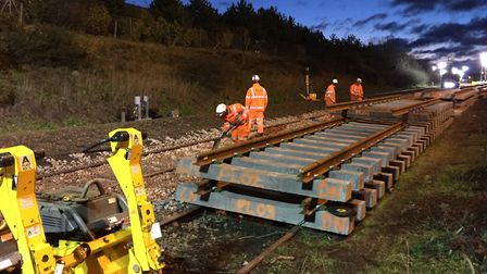 Network Rail engineers are installing new track on the Wherry Line between Lowestoft and Norwich. Pi