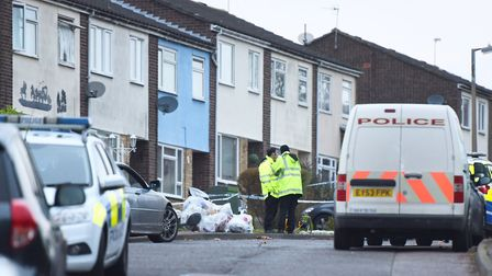 Police, paramedics and fire fighters at the scene in Othello Close in Greenstead, Colchester, where