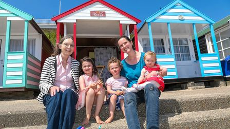 Julie Apps, from Brentwood, on holiday in Southwold with mother-in-law Clare and children Sophie (4)