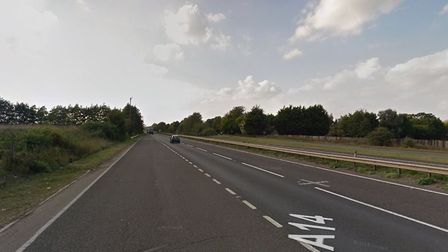 Police are at the scene of a three-vehicle crash on the A14 near Risby Picture: GOOGLEMAPS