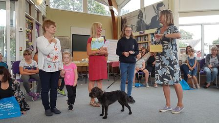 Emma and Plum greet those at Aldeburgh Library Picture: RACHEL EDGE