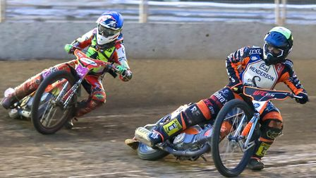In a Witches racejacket. Drew Kemp goes for an outside move on Gino Manzares against Scunthorpe last