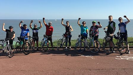 Those who undertook a 70km bike ride from Colchester to Harwich to celebrate the 70th birthday of th