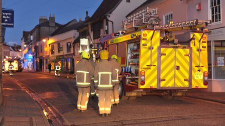 Firefighters investigate the scene of the bomb scare in Sudbury in January Picture: SARAH LUCY BROWN