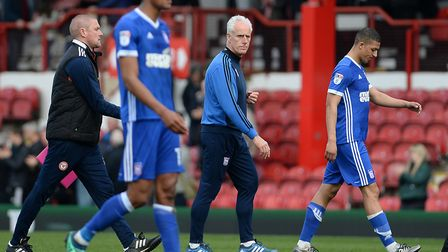 Mick McCarthy leaves the pitch at Brentford back in April. Photo: Pagepix