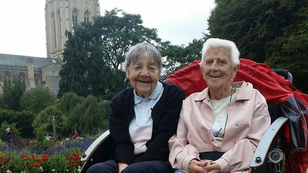 Chatty chum Joan Rowland (left) with Jean, who celebrated her 95th birthday with a rickshaw ride P