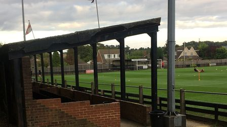 The stand at Royston's Town Garden Walk, which houses the press box. Picture: CARL MARSTON