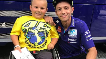 George Woodward meets with his hero Valentino Rossi Picture: LAURA BARBER