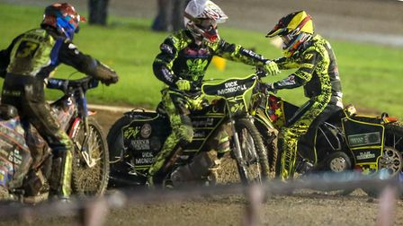 Riders turn round as the referee Christina Turnbull calls a halt ahead of heat seven. Picture: St