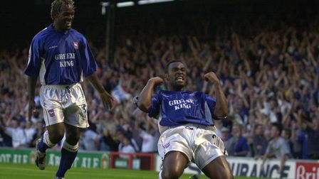 Nearly took all four roofs off Portman Road. Fabian Wilnis scores against Man Utd in 2000. Photo: AR