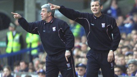 George Burley, right, with coach Bryan Hamilton at Town.