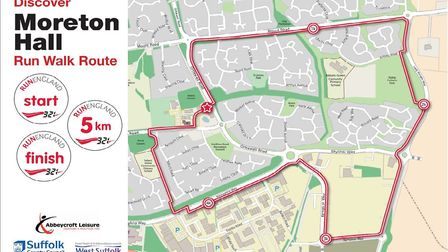 The Moreton Hall run/walk route in Bury St Edmunds.