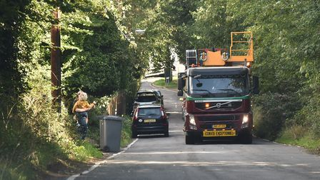 A wide load is escorted through the lanes of Woodbridge Picture: SONYA DUNCAN