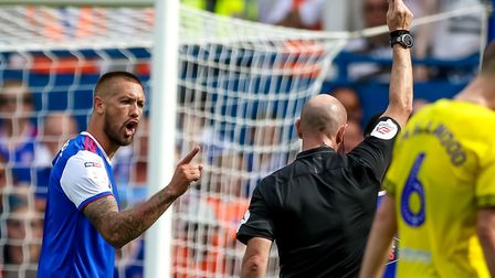 Ipswich Town captain Luke Chambers berates referee Andy Davies in the home game against Blackburn. P