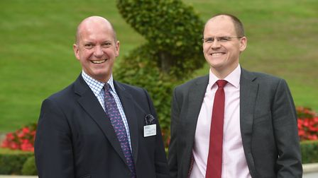 (L-R) Barry Chevallier Guild, former chairman of Aspall Cyder, with Luke Morris, chairman of the Ips