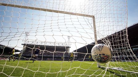 Gwion Edwards' shot finds the back of the net as Town take a 1-0 lead against Norwich Picture: STEVE