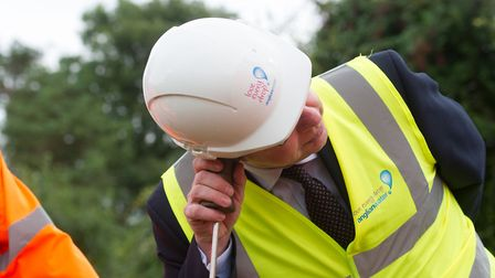 Michael Gove is tasked with leak detection. He is pictured at Gazeley Water Treatment Works Picture: