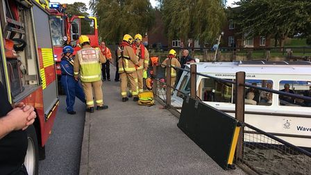 Several vehicles were called from Suffolk Fire and Rescue to help the passengers back onto dry land