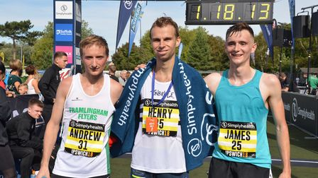 The top three at the Great East Run, from left, Suffolk-based runner-up Andrew Rooke, race winner He