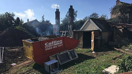 The destroyed cottage in Parham Picture: ANDREW HIRST