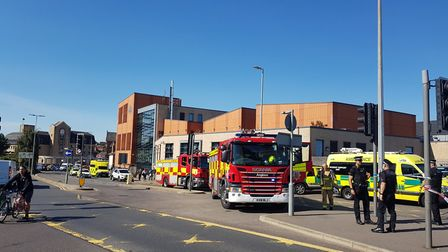 The scene at a suspected chemical spill in Colchester Picutre: SILENT STAMPY