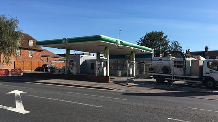 The BP garage on Magdalen Street, Colchester. The road is closed while emergency services are attend