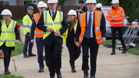Michael Gove MP visits Gazeley Water Treatment Works - pictured with Anglian Water CEO Peter Simpso