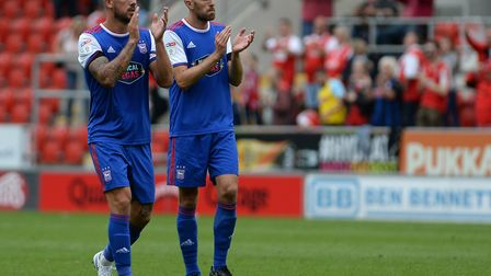 Luke Chambers and Cole Skuse after the defeat at Rotherham earlier this season. Photo: Pagepix