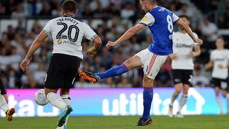 Cole Skuse with a first half shot at Derby. Photo: Pagepix