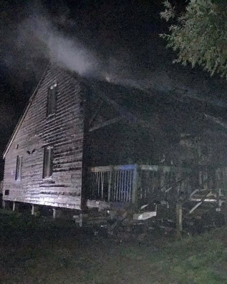 The scene of the fire at Dove Meadow in Great Cornard. Picture: SUFFOLK FIRE AND RESCUE SERVICE
