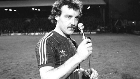 Kevin Beattie speaking at his testimonial match at Portman Road in 1982