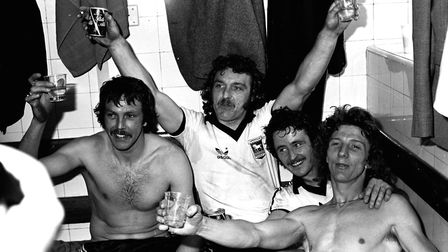 (L-R) Allan Hunter, Kevin Beattie, Robin Turner and Clive Woods celebrate reaching the FA Cup Final.