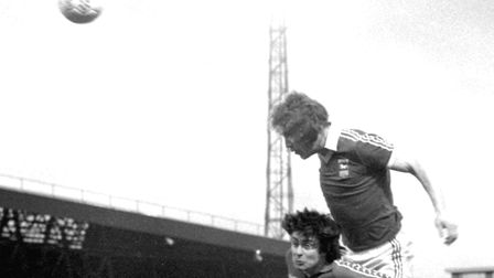 Kevin Beattie wins a towering header against Hartlepool during Ipswich Town's run to lifting the FA