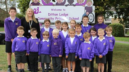 Melanie Moore, the new headteacher at Ditton Lodge Primary School, with some of the pupils. Picture: