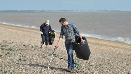 A team of Environment Agency staff did their bit to help clear litter on a Suffolk beach as part of