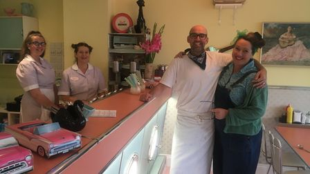 Caroline and Pete Tuffrey, owners at Delphine's Diner with their staff Picture: ARCHANT