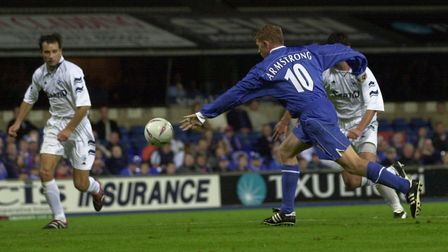 Alun Armstrong lines up his equaliser for Ipswich Town against Sartid Smederevo at Portman Road in 2