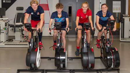Young athletes from Ipswich School training at the University of Suffolk Hub. Picture: PAVEL KRICKA