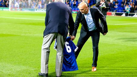 The number six shirt is laid on on the pitch in memory of Kevin Beattie ahead of the Ipswich Town v