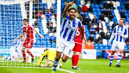 Mikael Mandron celebrates scoring the first of his two goals against Crewe last season, in a 3-1 hom