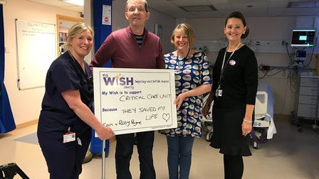 Nurse in charge of the critical care unit Debbie Baker, left, with Ian and Rosy Payne, and Sue Smith