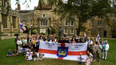 """Gathering by the statue of St Edmund by the Abbey West Front in Bury St Edmunds for the """"We Love Bur"""