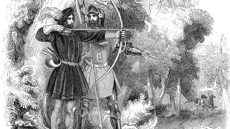 Robin Hood and Little John in an engraving from 1845. Picture: Getty Images
