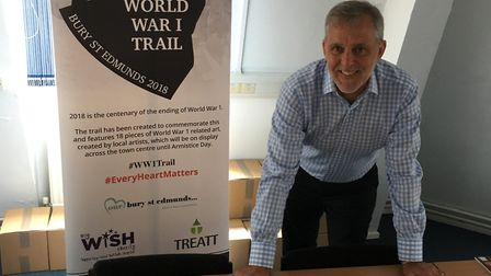 Mark Cordell with the dozens of entries for the World War 1 Trail. Picture: RUSSELL COOK