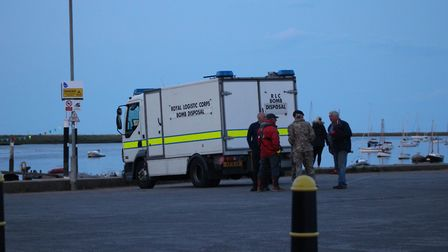 Police and coastguard assisted the bomb disposal unit with locating the artillery Picture: CARL HUMP