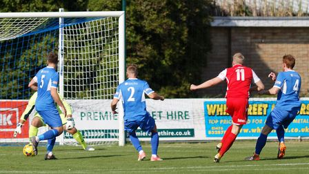 Chris Lait (number 11) pulls a goal back for Tamworth at Leiston. Picture: PAUL VOLLER
