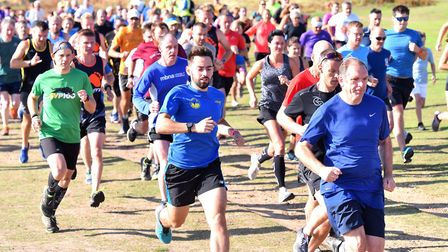 Runners set off at the start of Saturday morning's Sizewell parkrun, which attracted a field of more