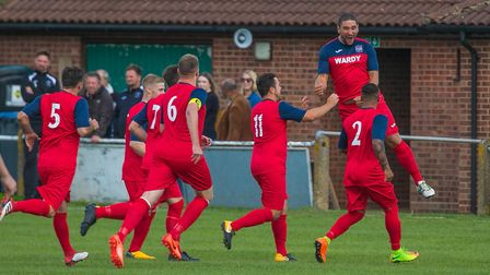 Danny Thrower celebrates giving Hadleigh a very early lead at Woodbridge Town in the FA Cup. Picture