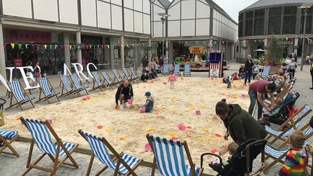 The beach set up at the Arc Shopping Centre as part of the Food and Drink Festival in Bury St Edmund